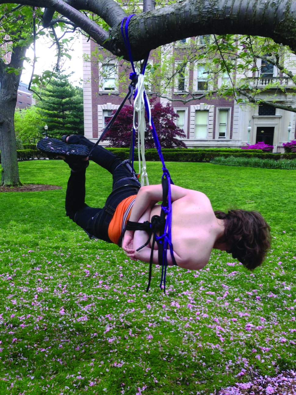 """Hanging out: During spring 2014 finals week, some members of Conversio Virium unofficially held a """"rope bomb""""—a playful introduction to the CV world akin to a circus performance—on Columbia's campus."""