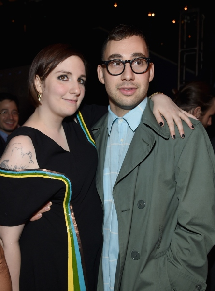 """Lena Dunham and Jack Antonoff  attend the """"Girls"""" season four series premiere after party at The Museum of Natural History on January 5, 2015 in New York City.  (Jamie McCarthy/Getty Images)"""