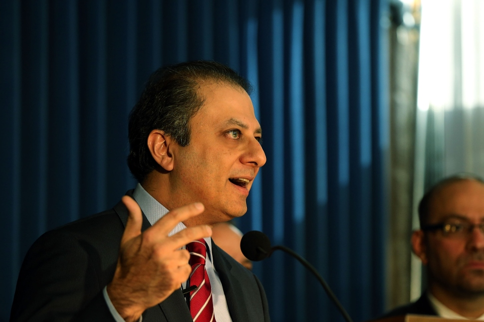 Preet Bharara, U.S. Attorney for the Southern District of New York speaks at a press conference following the arrest of the speaker of the New York State Assembly, Sheldon Silver, on federal corruption charges on January 22, 2015 in New York City. Silver, a Democrat from the Lower East Side of Manhattan who has served as speaker for more than two decades, is accused in court documents of using the power of his office to solicit millions in bribes and kickbacks. (Photo: Spencer Platt/Getty Images)