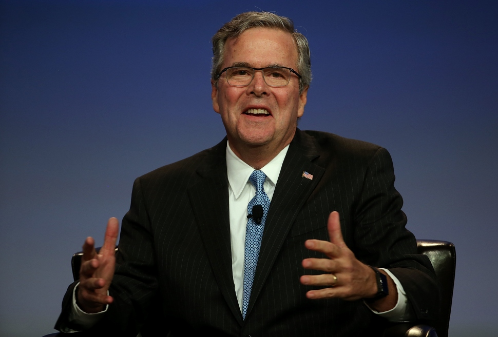 Former Florida governor Jeb Bush speaks during the 2015 National Auto Dealers Association (NADA) conference on January 23, 2015 in San Francisco, California. Bush, who now owns a private consulting firm in Florida, recently announced that he is actively seeking support for a potential 2016 US presidential campaign. (Photo by Justin Sullivan/Getty Images)
