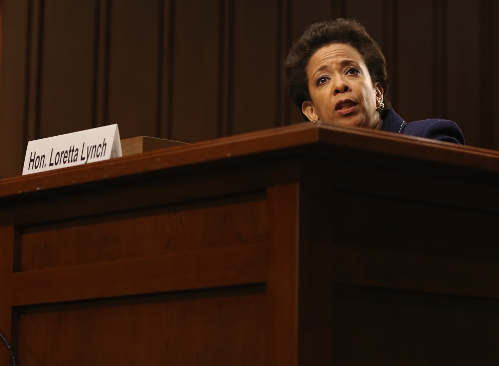 Attorney for the Eastern District of New York Loretta Lynch testifies during her confirmation hearing before the Senate Judiciary Committee January 28, 2015 on Capitol Hill in Washington, DC. If confirmed by the full Senate Ms. Lynch will succeed Eric Holder as the next U.S. Attorney General. (Photo by Mark Wilson/Getty Images)