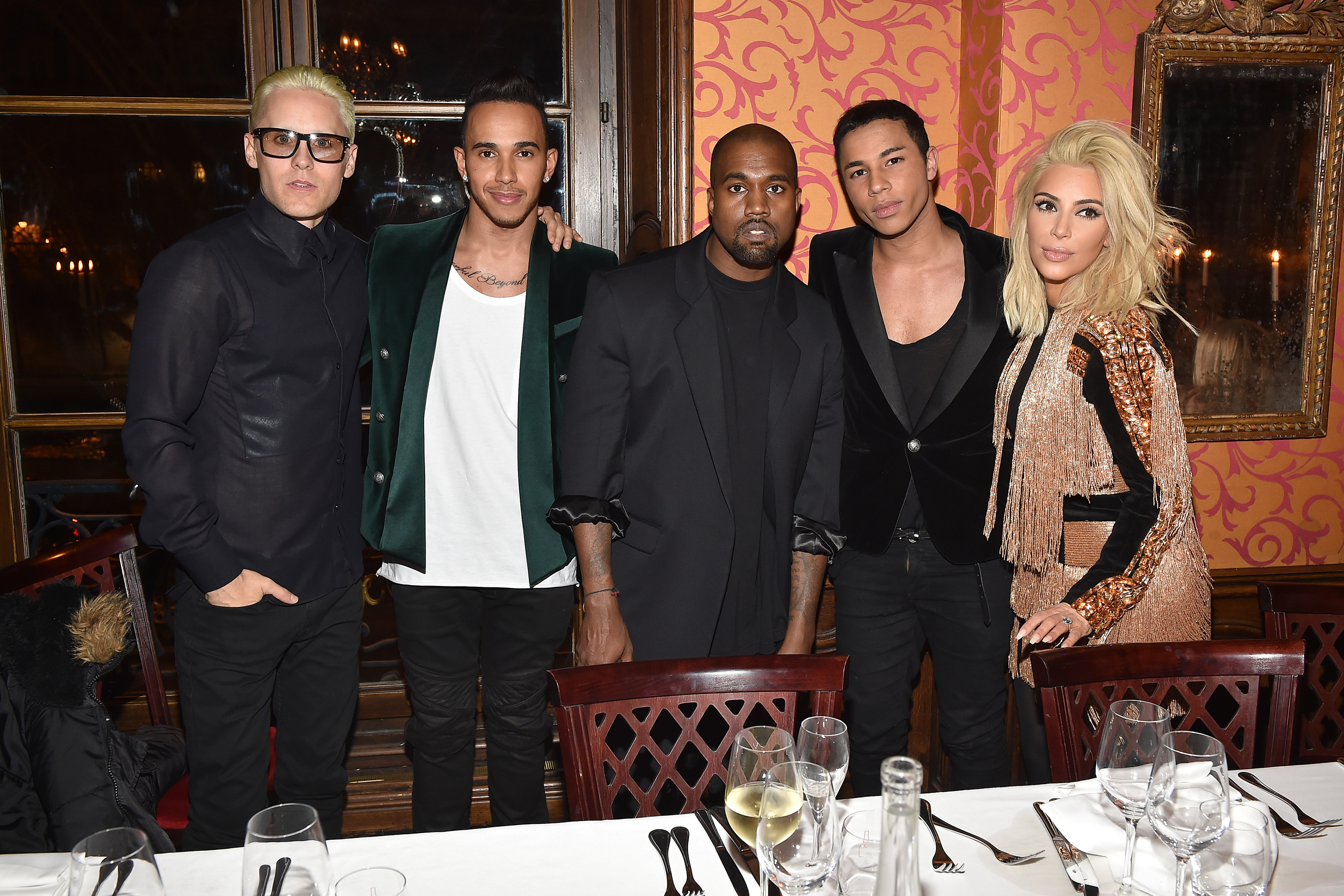 Jared Leto, Lewis Hamilton, Kanye West, Olivier Rousteing and Kim Kardashian at the Balmain After Party (Photo: Getty).