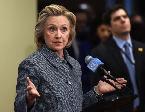 Hillary Clinton answering questions about her email. (Don Emmert/AFP/Getty Images)