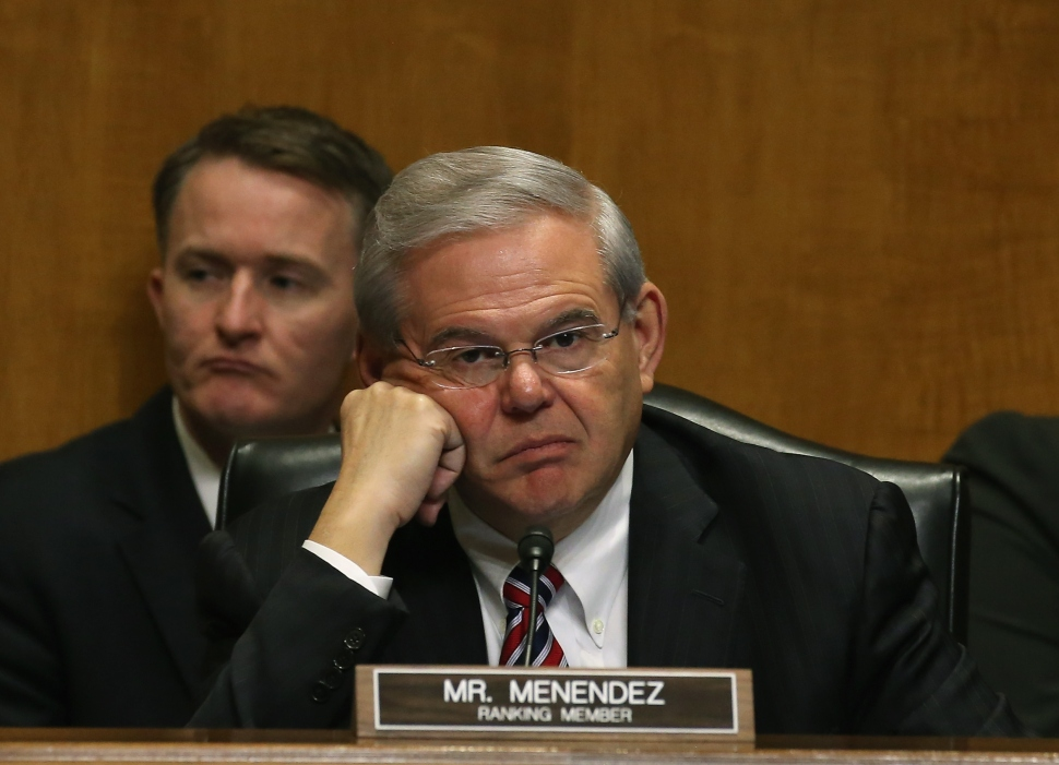 MARCH 10: Sen. Bob Menendez (D-NJ) (R) participates in a Senate Foreign relations Committee hearing on Capitol Hill, March 10, 2015 in Washington, DC. The committee was hearing from us government officials on the situation in Ukraine. (Photo: Mark Wilson/Getty Images)
