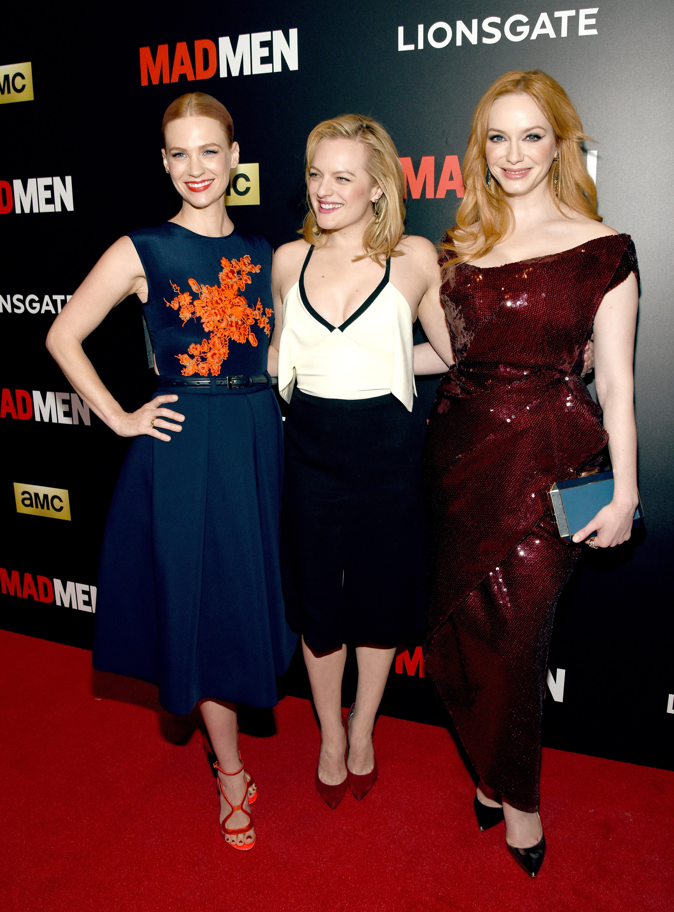 January Jones, Elisabeth Moss and Christina Hendricks on the red carpet in New York City (Photo: Getty).