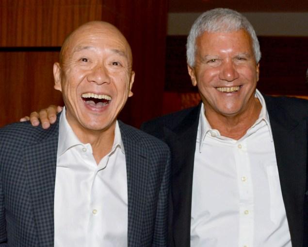 Masa Takayama and Larry Gagosian at Kappo Masa. (Photo courtesy Patrick McMullan)