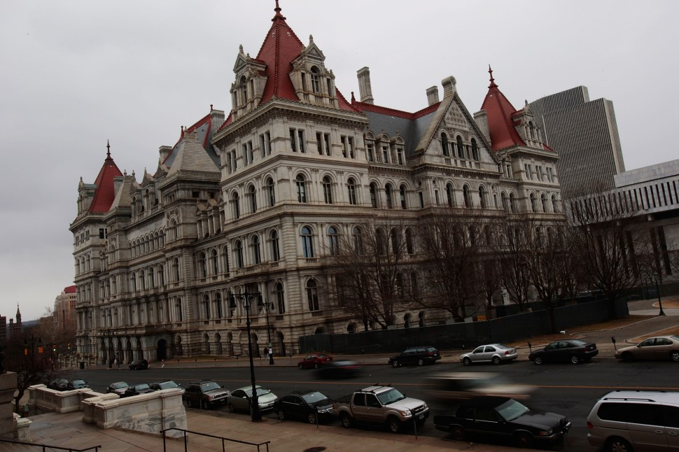 The New York State Capitol is seen March 16, 2008 in Albany, New York. Lt. Gov. David Paterson will be sworn in here on March 17, replacing Gov. Eliot Spitzer who resigned last week in a prostitution scandal. (Photo by Chris Hondros/Getty Images)