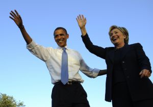 US Democratic presidential candidate Illinois Senator Barack Obama and New York Senator Hillary Clinton wave to supporters during a rally at Amway Arena in Orlando, Florida, October 20, 2008. AFP PHOTO/Emmanuel Dunand (Photo credit should read EMMANUEL DUNAND/AFP/Getty Images)