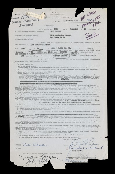 Lot 40 [Andy Warhol] Official Lease for the Artist's First Studio on 159 East 87st Street, Signed by the Artist. New York: 10 December 1962. Est. $8/12,000 (Photo Courtesy: Sotheby's)