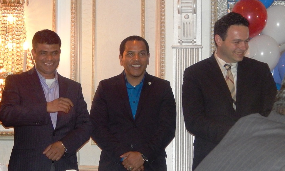 Paterson Councilman Mohammed Akhtaruzzaman (left), with his colleagues, Councilman Julio Tavarez and Councilman Andre Sayegh.