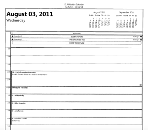 This page from David Wildstein's official schedule, was obtained via a FOI request at the Port Authority. It shows a meeting with Bridget Kelly in the Capital, followed by a meeting with Gov. Christie. (PANYNJ)