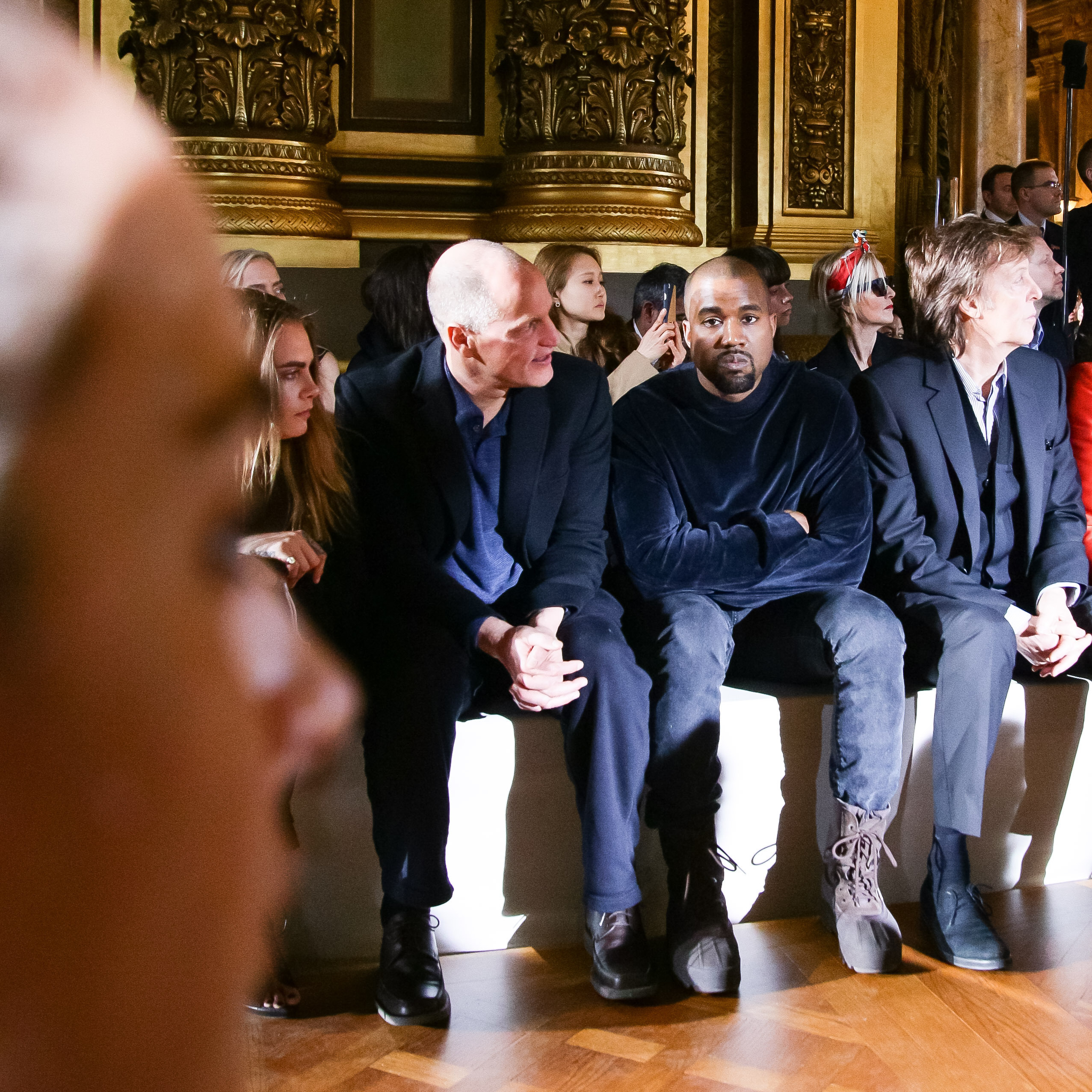 Cara Delevingne, Woody Harrelson, Kanye West and Sir Paul McCartney sit front-row at Stella McCartney (Photo: BFA).