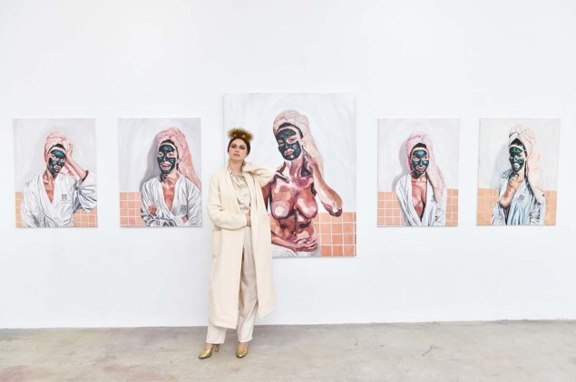 Tali Lennox, with her work. (Photo courtesy Billy Farrell)