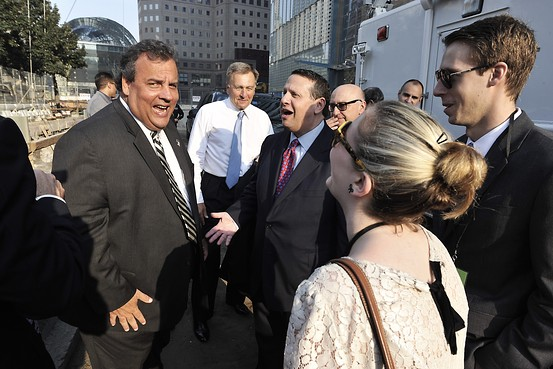 Old friends or barely acquaintances? Chris Christie and David Wildstein are seen here at the 12th Anniversary of the attacks on the World Trade Center, Sept. 11, 2013. At the moment this photo was snapped, lanes on the George Washington Bridge had been closed for three days. (Photo: Port Authority NYNJ)