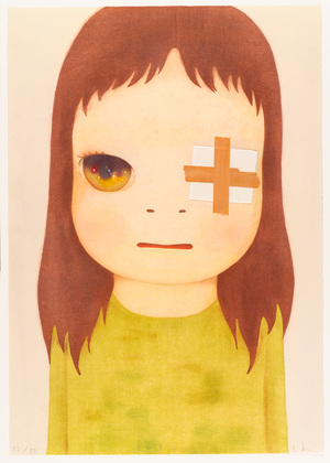 Yoshitomo Nara, represented by Pace Gallery, was a strong seller at the fair. This print, Untitled (Eye Patch), (2012), is in the collection of the Museum of Modern Art.