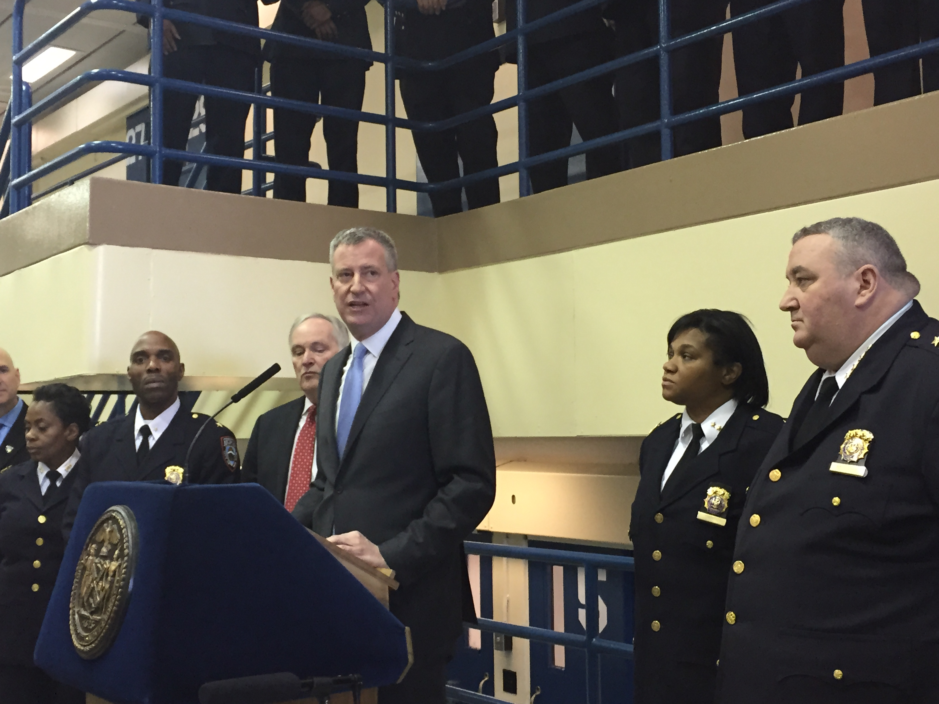 Mayor Bill de Blasio held a press conference today at the Otis Bantum Correctional Center on Rikers Island today. (Photo: Jillian Jorgensen/New York Observer)