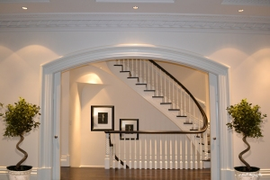 The very, very elegant staircase offers inspiration not to take the elevator.