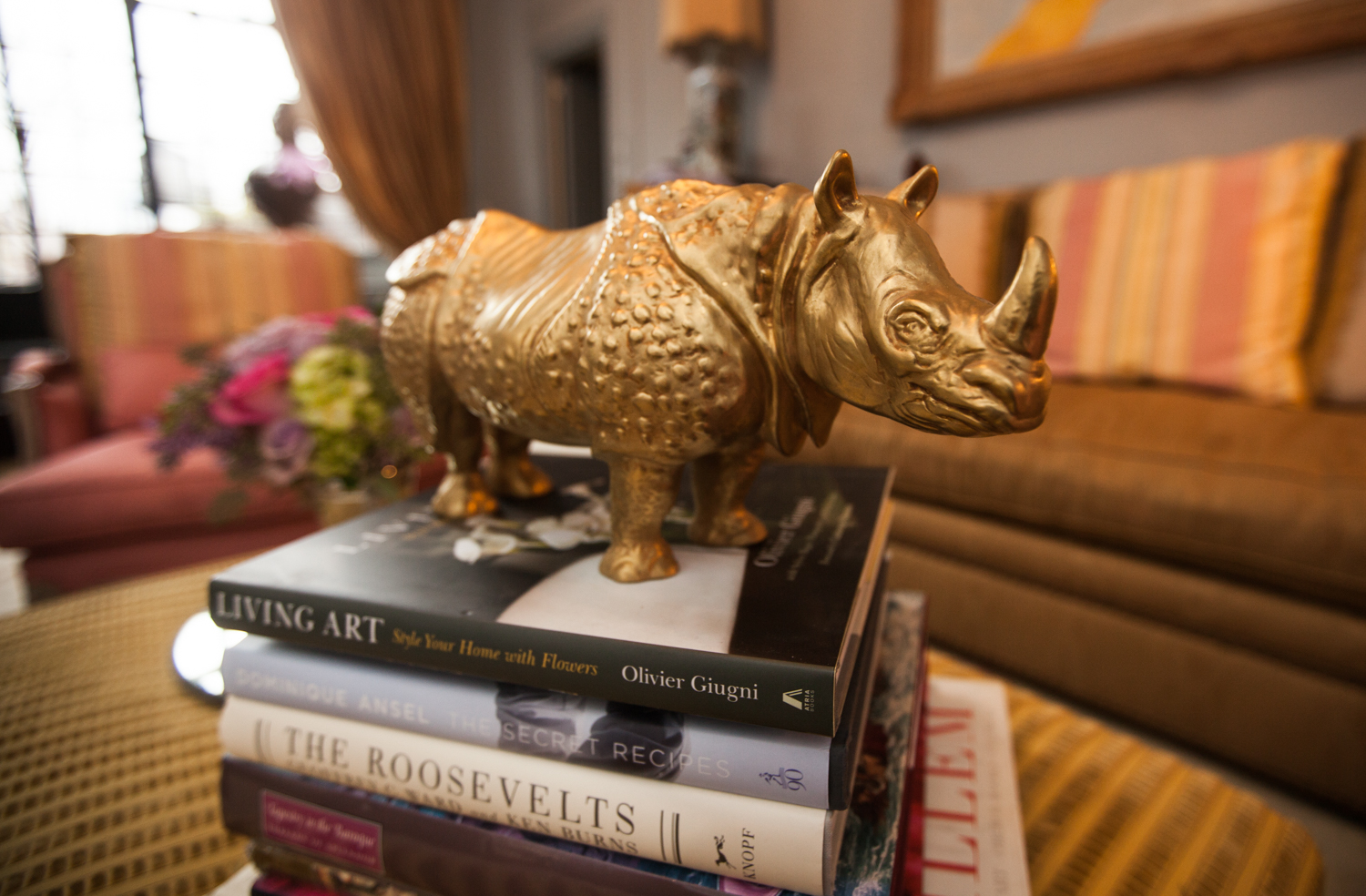 A gold-dipped rhino from a Lyon jeweler (Photo: Emily Assiran/New York Observer).