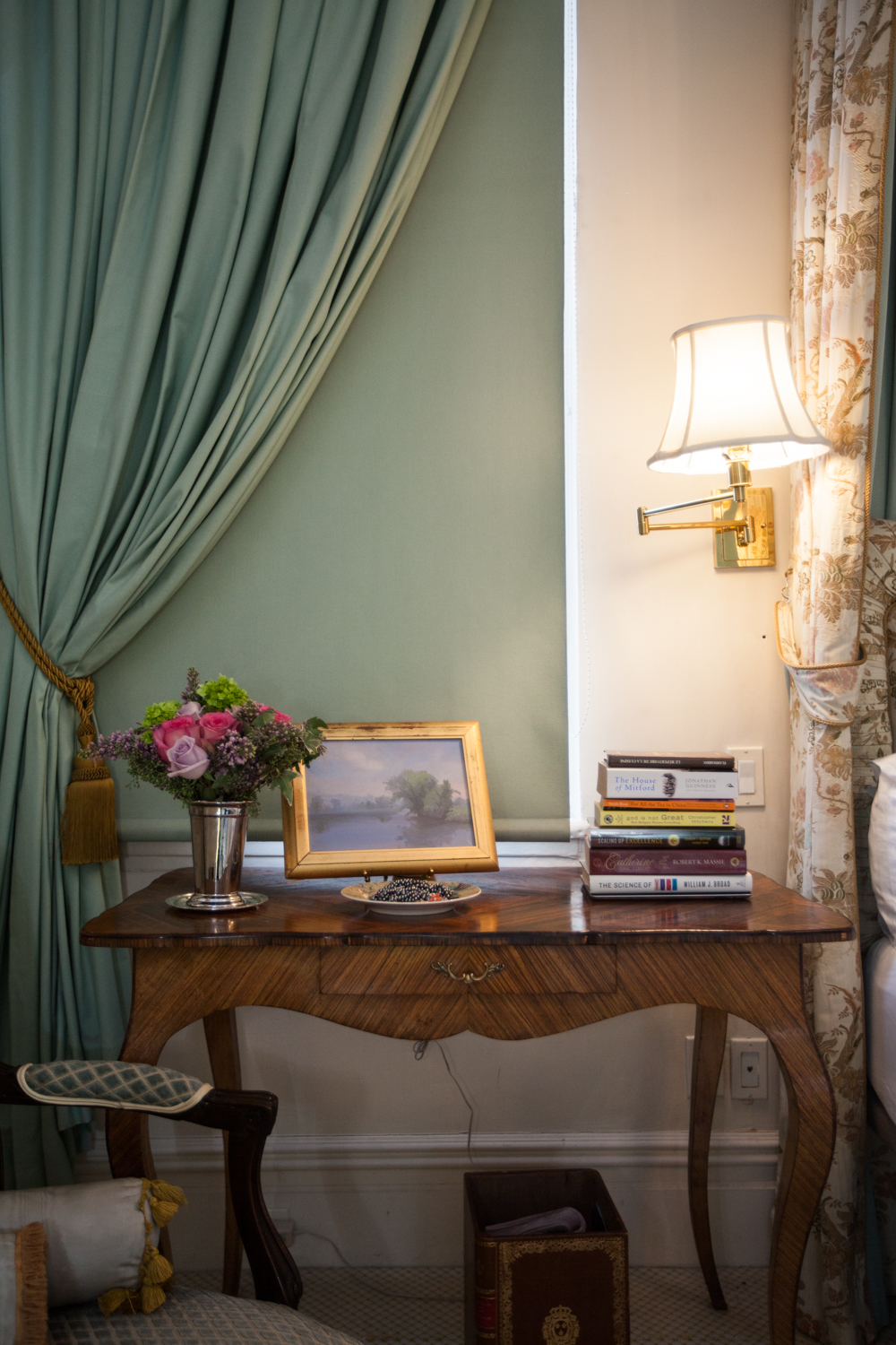 A Pamela Talese painting sits in the bedroom (Photo: Emily Assiran/New York Observer).
