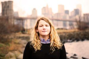 The artist near the Brooklyn Bridge in 2014. (Julia Maloof Verderosa).