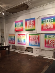 """New works from """"John Giorno: Space Forgets You"""" at Elizabeth Dee. (Photo by Nate Freeman)"""