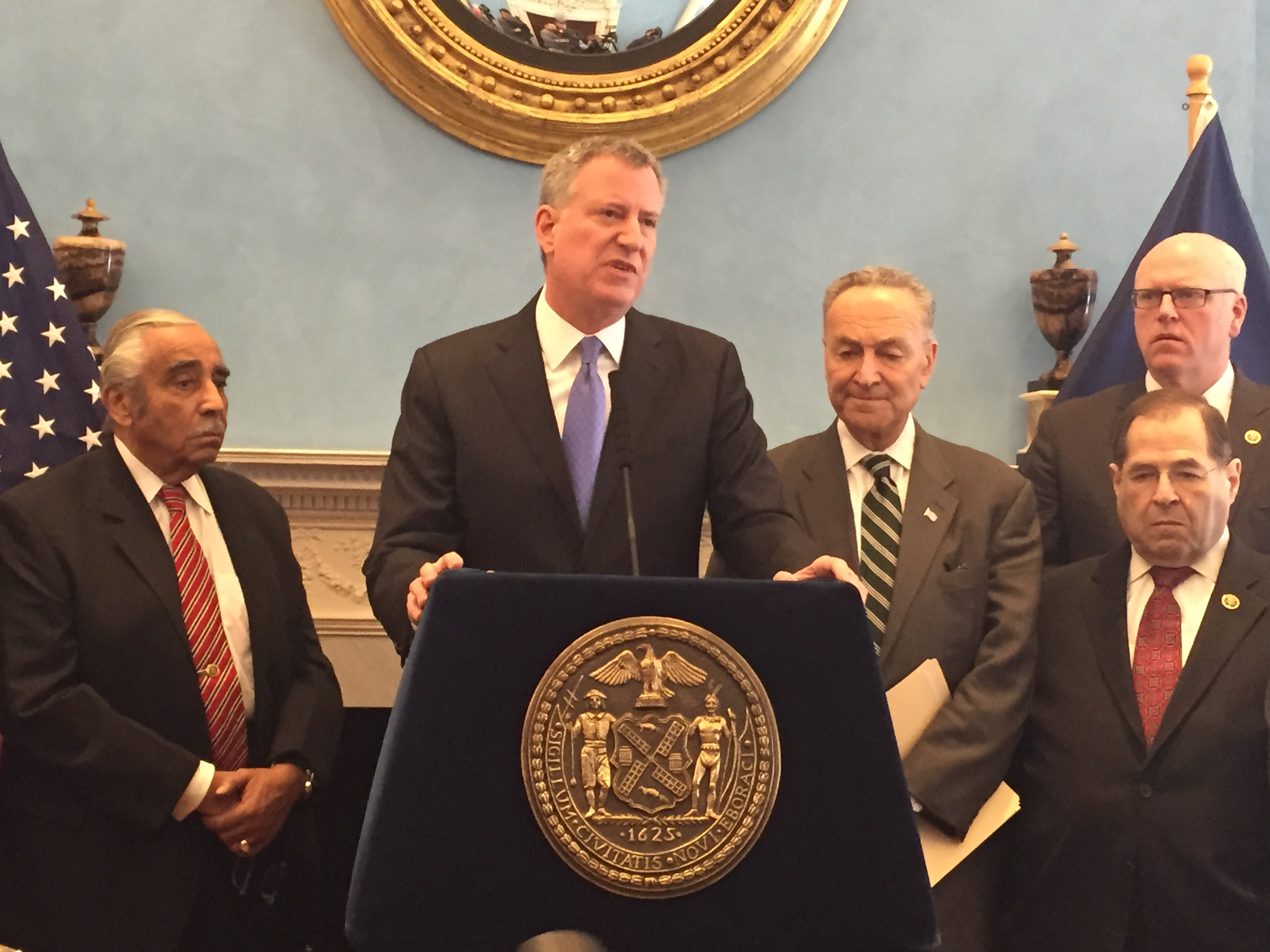 Mayor Bill de Blasio today with members of New York City's congressional delegation. (Photo: Jillian Jorgensen/New York Observer)