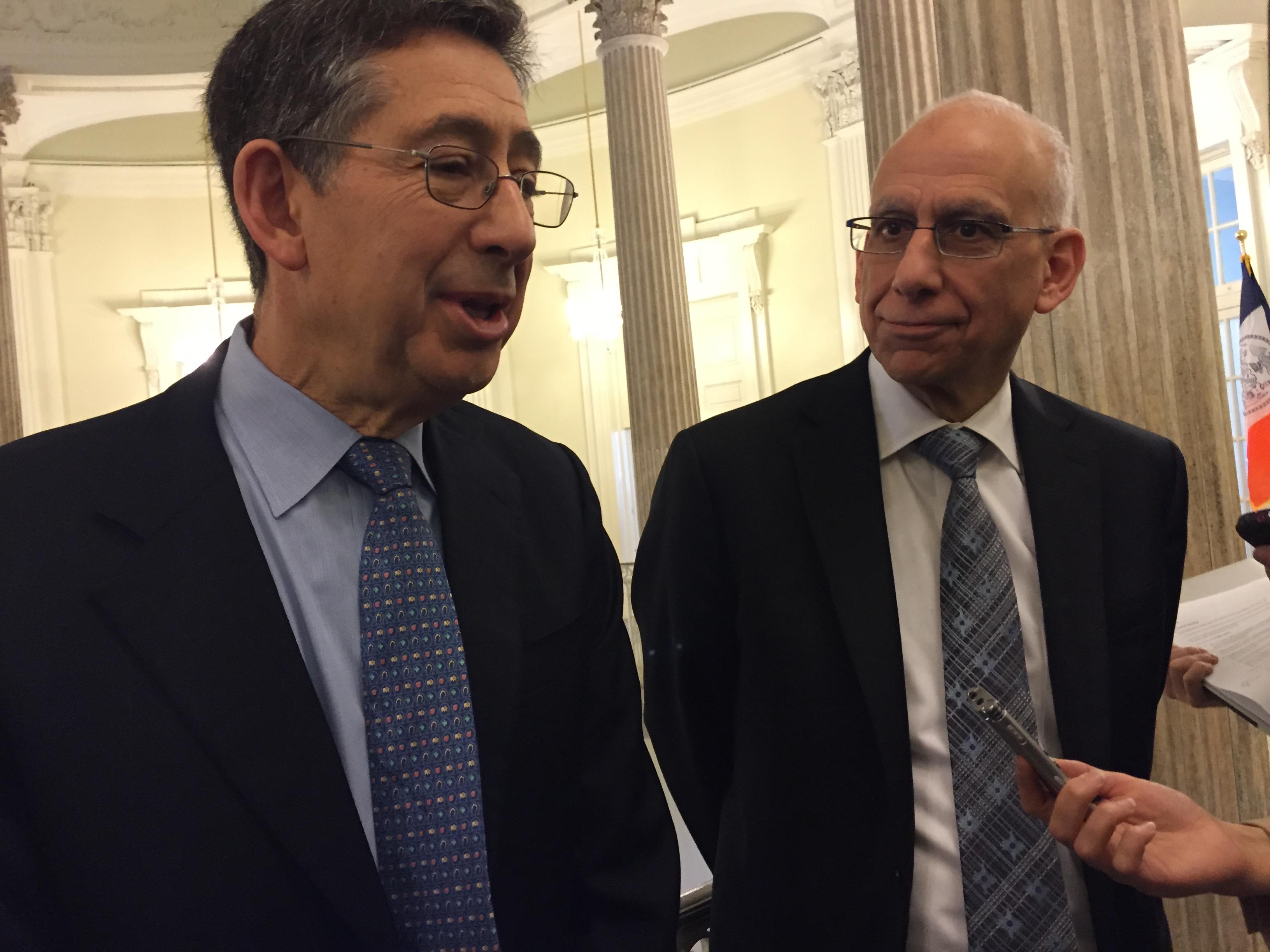 Labor Relations Director Robert Linn and Budget Director Dean Fuleihan discuss the city budget after a council hearing today. (Photo: Jillian Jorgensen/New York Observer)