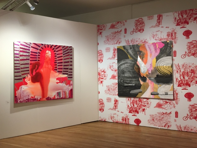 Another view of Emerson Dorschs booth at Pulse New York 2015. Elisabeth Condons Ethereal Body, 2014 left) and White Swan, 2014, right). Photo: Alanna Martinez)