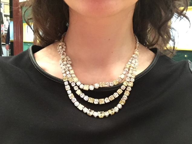 A 110 carat white and soft yellow diamond necklace, set in platinum, by Graff Diamonds. (Photo: Alanna Martinez)