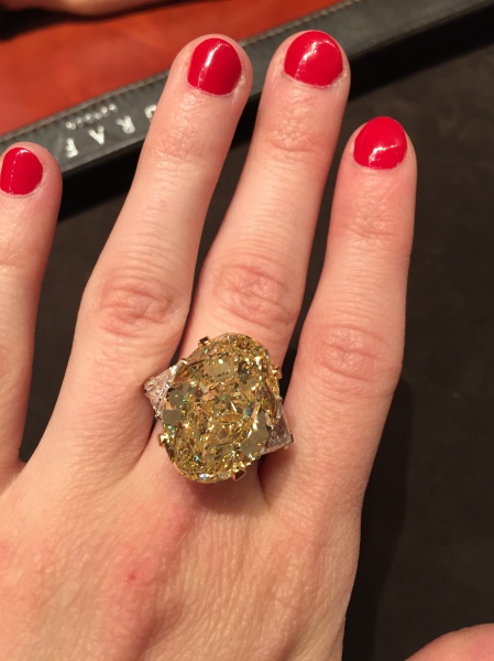 Now that's a rock. A 24 carat fancy radiant-cut diamond that you'll need at least $4 million to make yours. Photo: Alanna Martinez)