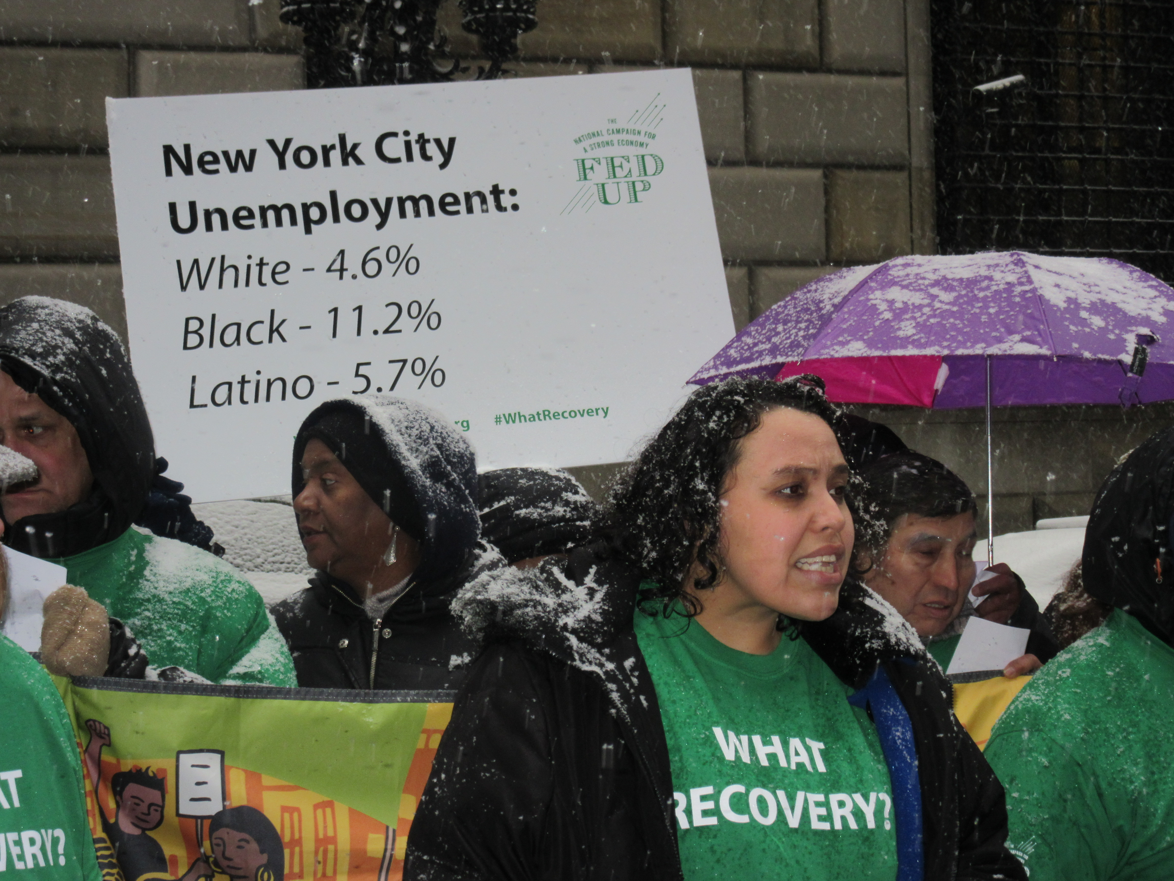Victoria speaks at the rally outside the Federal Reserve today (Photo: Will Bredderman/New York Observer).