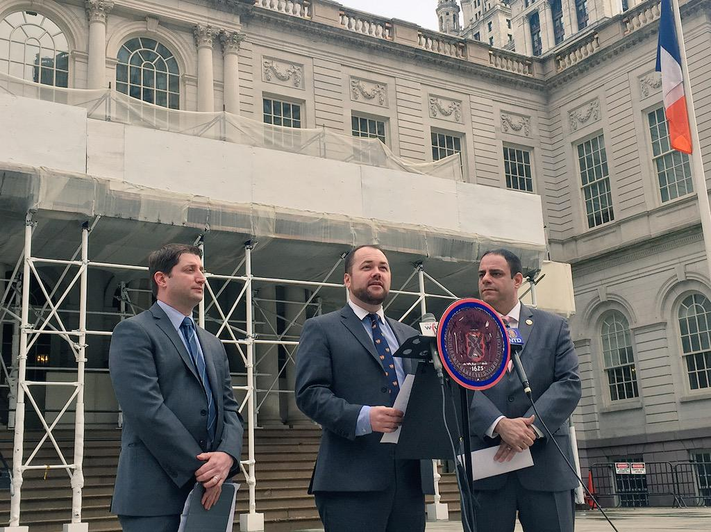 Councilman Corey Johnson, center, and Councilman Costa Constantinides, right, today (Photo: Twitter).