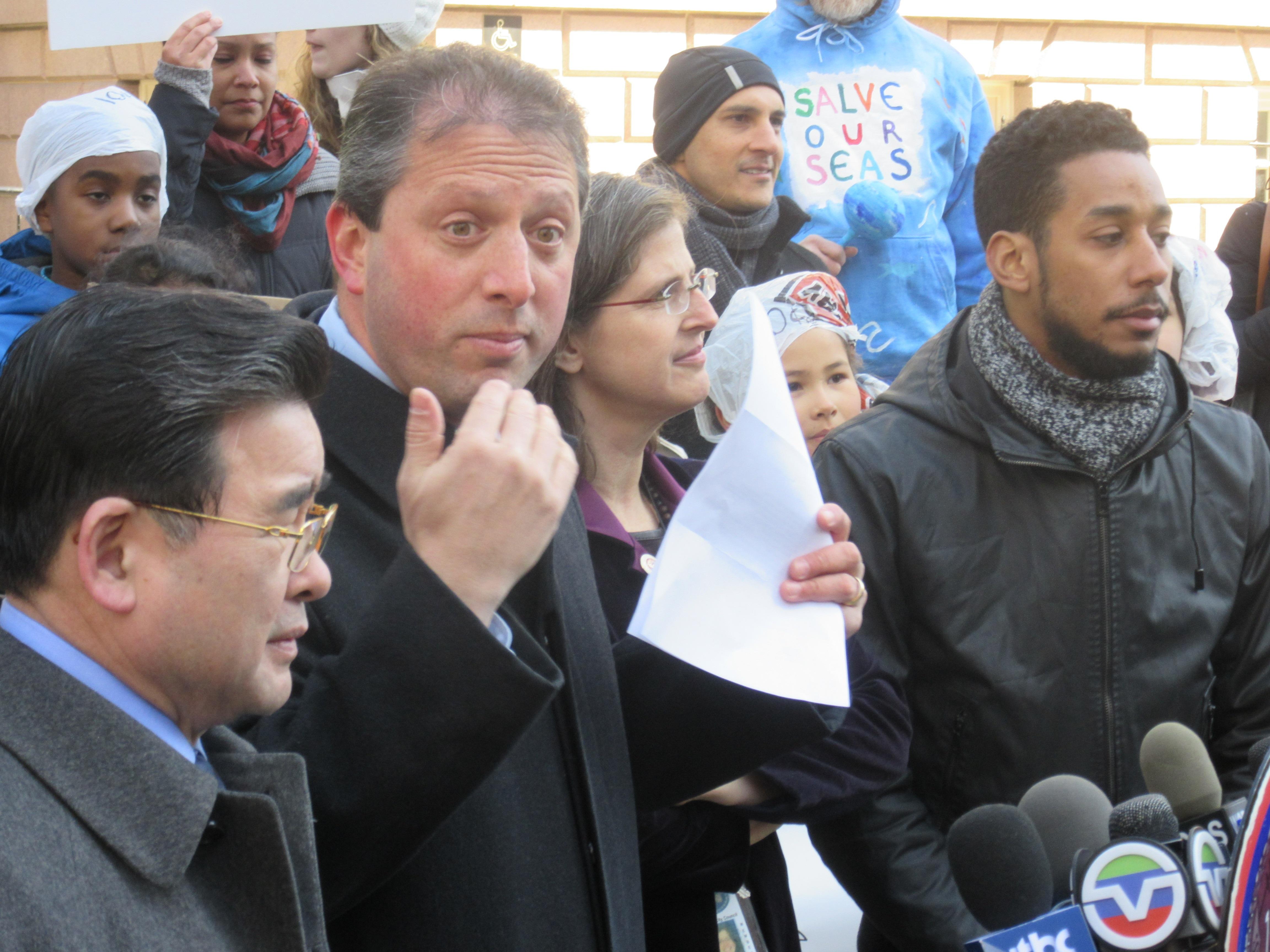 Councilman Brad Lander, center, speaks alongside Councilman Peter Koo, left, Councilwoman Helen Rosenthal and Councilman Antonio Reynoso (Photo: Will Bredderman/New York Observer).