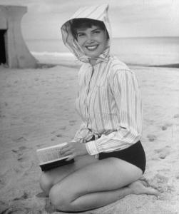 Model on beach wearing windbreaker by Bonnie Cashin.  (Photo by Nina Leen/The LIFE Picture Collection/Getty Images)
