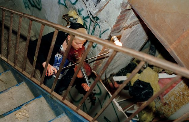 Maria and Violin in Serenity House Stairwell, 1997 (Ash Thayer).