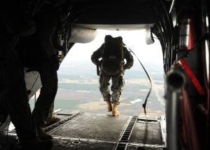 U.S. Navy SEALs jump from a CH-46E Sea Knight helicopter during training near Fort Pickett. (Photo:  Mass Communication Specialist 2nd Class Meranda Keller/U.S. Navy via Flickr)