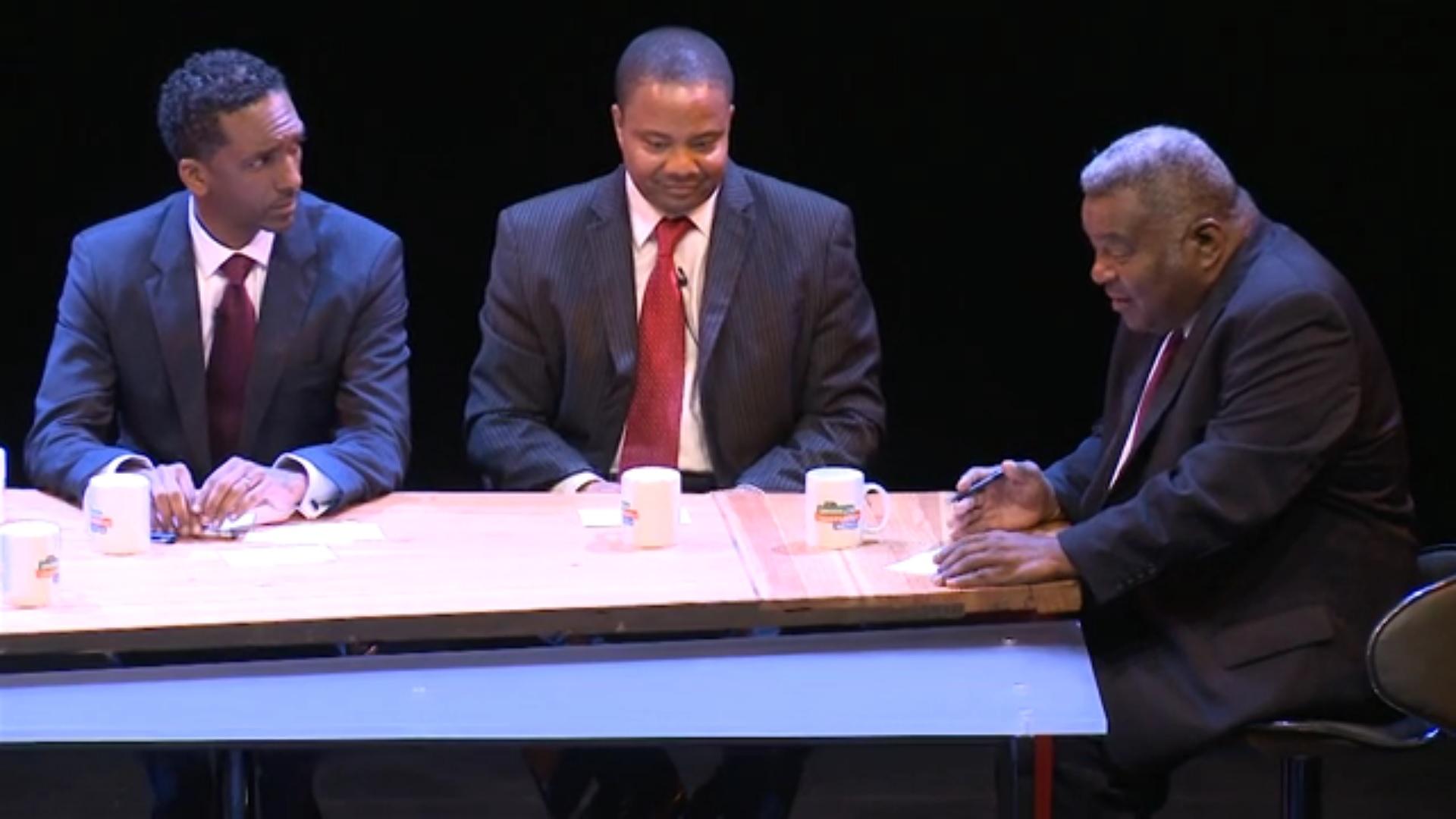 Guillermo Philpotts, right, debates now-State Senator Jesse Hamilton and Rubain Dorancy last year (Screengrab: Brooklyn Independent Media).