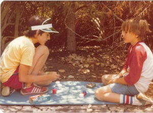 Wizard as Apprentice:  picture of Mike (on left), playing poker with his younger brother.  Note who has more chips. This is how Michael killed time on camping trips. (Photo: Michael Shackleford)