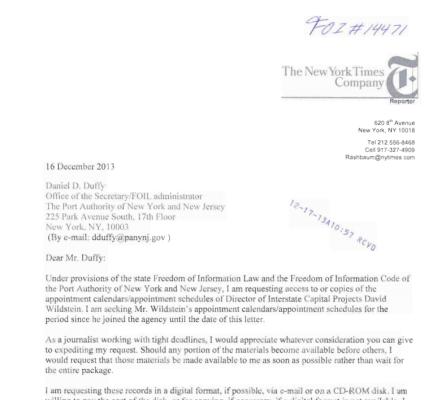 The FOI request filed by New York Times reporter William Rashbaum.