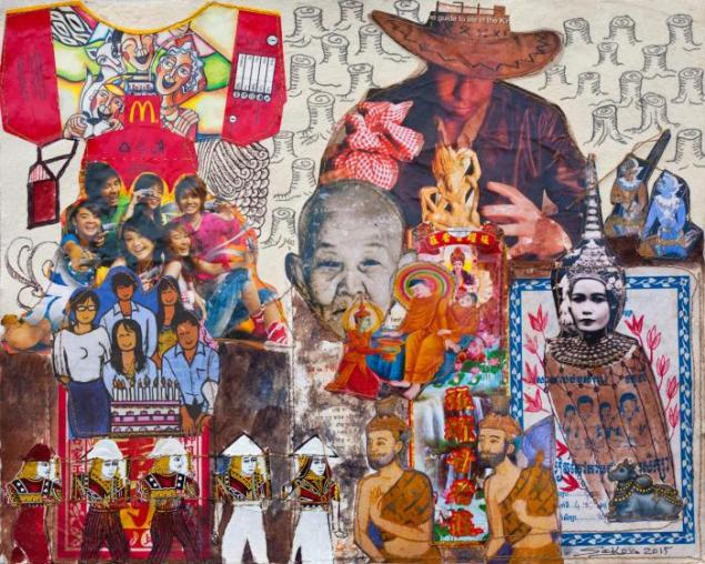 Cambodian artist Leang Sekong was a strong seller at the fair. Here: New Influence, (2015) (Image courtesy Rossi & Rossi).