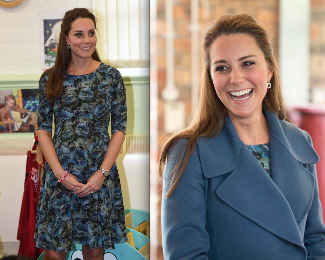 The duchess smiles in her blue dress and Erdem frock (Photos: Getty).
