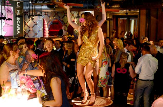 Ms. Gillies dancing at the La Máscara launch party. (Photo: Bravo)
