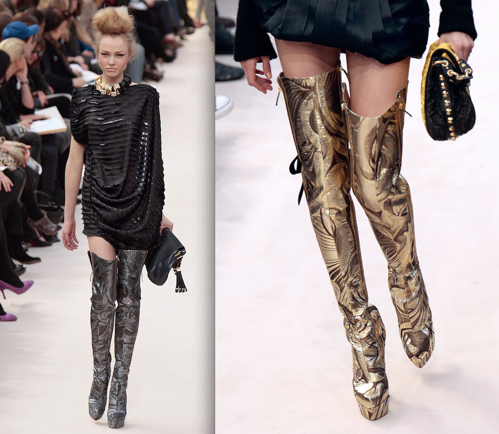 Louis Vuitton's fall and winter 2009 collection featured thigh-high gogo boots in silver, gold and black (Photos: Getty).