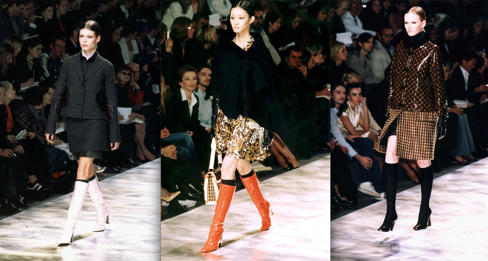 Three pairs of gogo boots from the label's autumn and winter 2003 line (Photos: Getty).