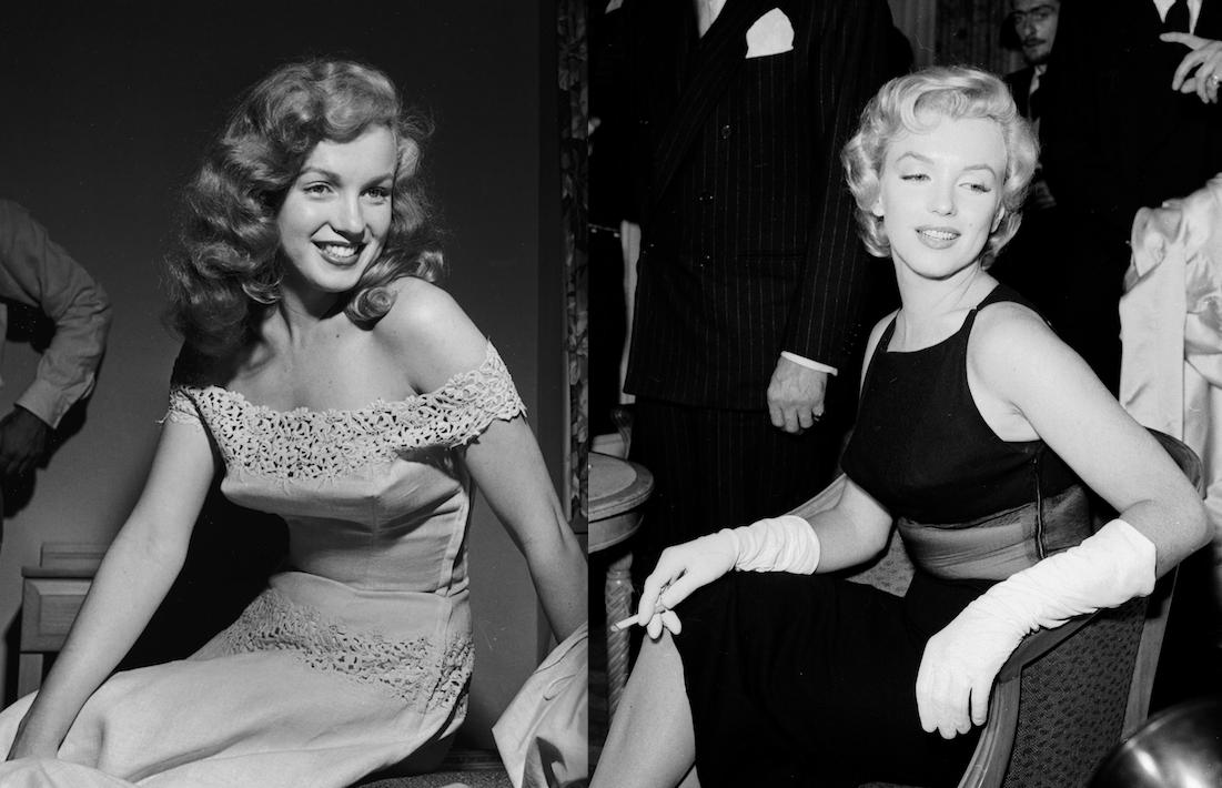 Marilyn Monroe, pre- and post-dye-job, in 1949 and in 1956 (Photos: Getty).