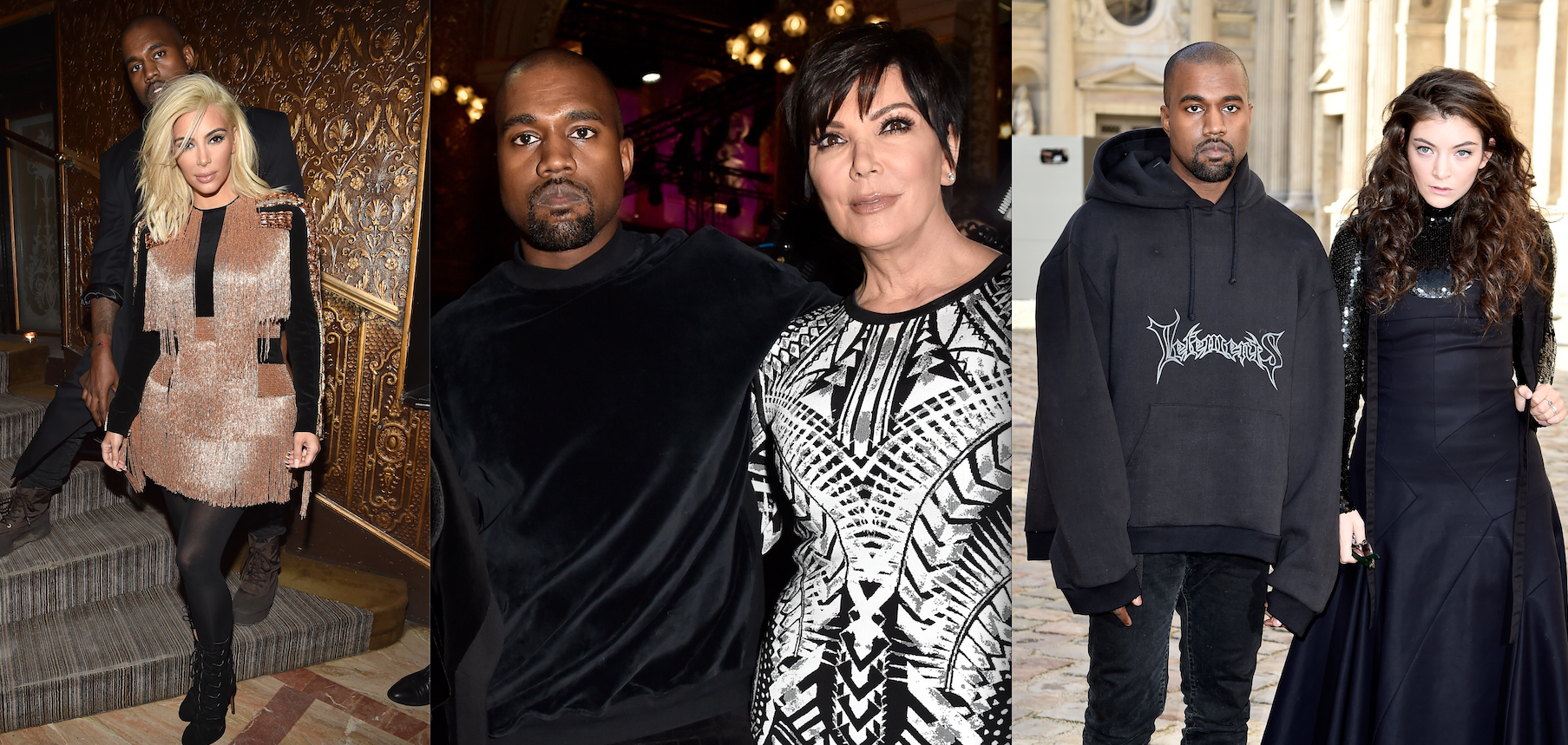Kanye West with his various PFW dates (Photos: Getty).
