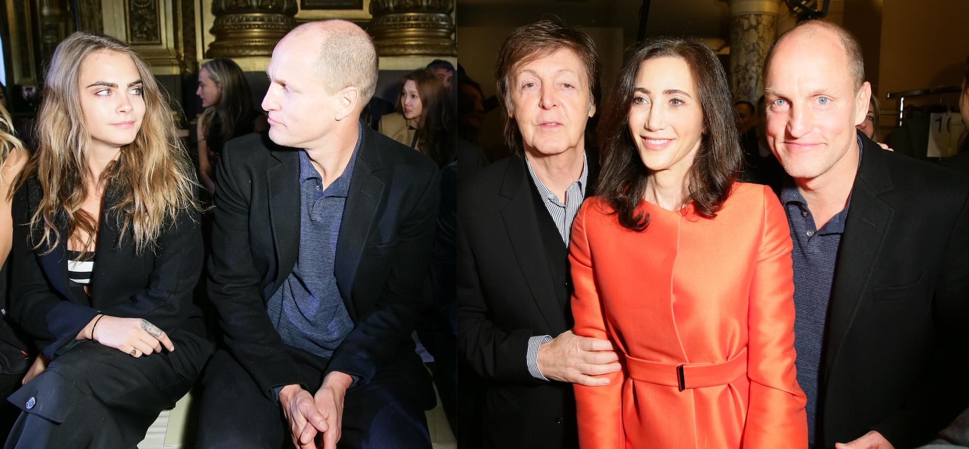Cara Delevingne and Woody Harrelson; Paul McCartney, Nancy Shevell and Mr. Harrelson (Photos: BFA).