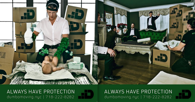 These two ads were approved to go up in the subway. (Photo: Dumbo Moving + Storage)