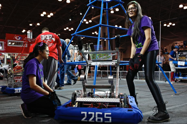 The FeMaidens send their robot into the ring at the 2013 competition. (Photo: Adriana Groisman/US FIRST)