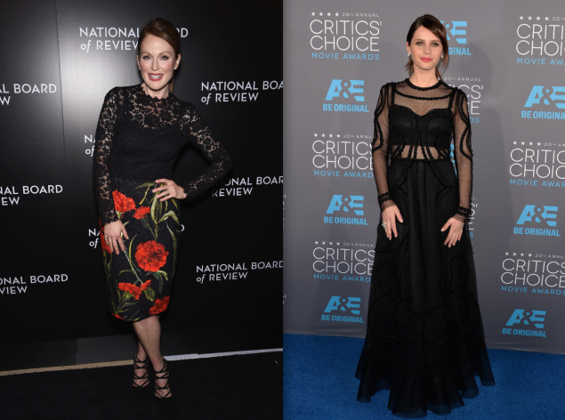 Julianne Moore wears D&G in January at Nat'l Board of Review Gala; Felicity Jones wears D&G on Jan. 15. (Photos: Getty)